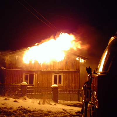 Ett brinnande hus