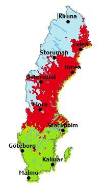 Exempelkarta över Sverige med färgmarkerade områden som indikerar olika nivå av brandrisk.