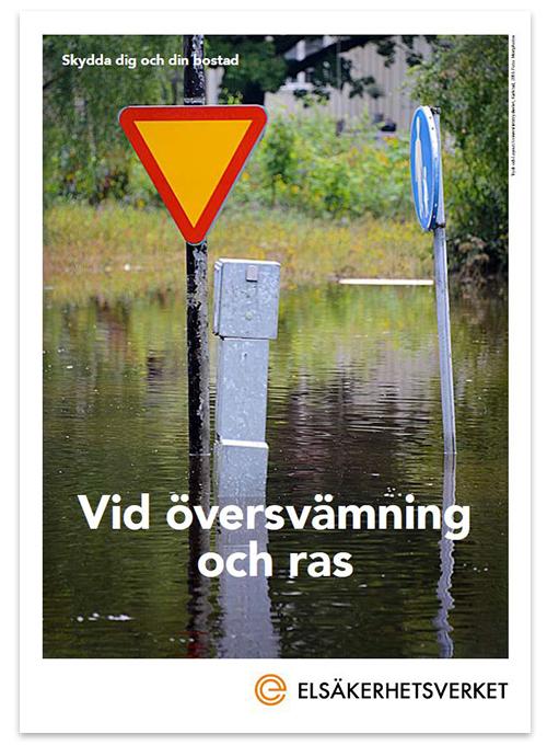 Omslagsbild broschyr elsäkerhet vid översvämning och ras.