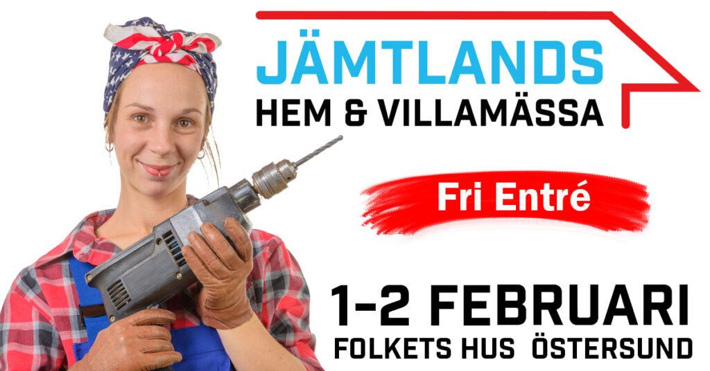 En glad kvinna i snickarkläder med en borrmaskin framför bröstet. I bilden står det Jämtlands hem och villamässa, fri entré samt 1-2 februari på folkets hus i Östersund.