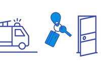 Illustration i blått på vit bakgrund. Vi ser en sträckritad brandbil, en knippa med ett kort, en blipp och en nyckel samt en dörr som står öppen.