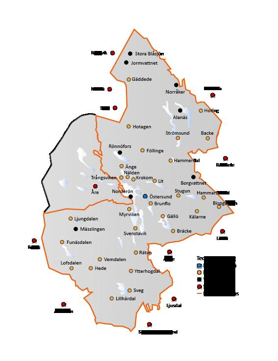 Karta över brandstationerna i Jämtland.