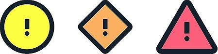 Varningssymbolerna gult i en svart cirkel med ett svart utropstecken, orange i en svart romb med ett utropstecken och rött i en svart triangel med ett utropstecken.